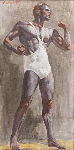 Body Builder (Contemporary Oil Painting of Single Male Athlete) by Mark Beard