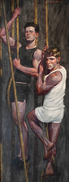 Boys on Ropes II (Large Figurative Painting on Canvas of Athletes on Ropes)