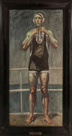 [Bruce Sargeant (1898-1938)] Captain John Barnes Readying for Waterpolo