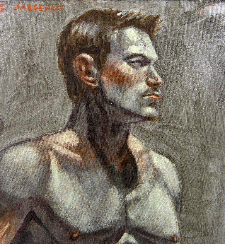 [Bruce Sargeant (1898-1938)] Male Nude Facing Right - Realist Painting by Mark Beard
