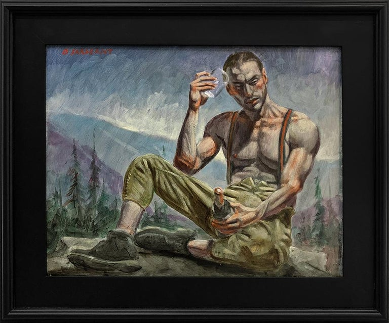 Mark Beard Portrait Painting - [Bruce Sargeant (1898-1938)] Man Holding Glass and Bottle