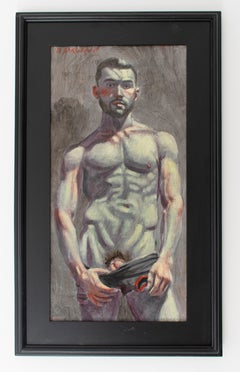 Christopher Undressing (Academic Male Figurative Painting by Mark Beard)