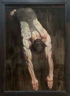 Diver: Academic Figurative Painting of Male Swimmer (Mark Beard, Bruce Sargeant)