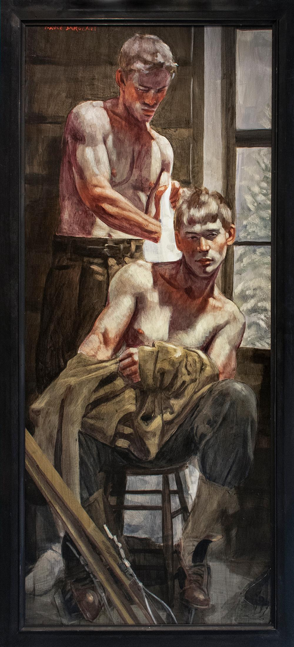 Dressing in the Lodge (Figurative Painting of Men, Mark Beard, Bruce Sargeant)