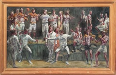 Fencers (Figurative Oil Painting by Mark Beard of Athletes in Sport, Framed)