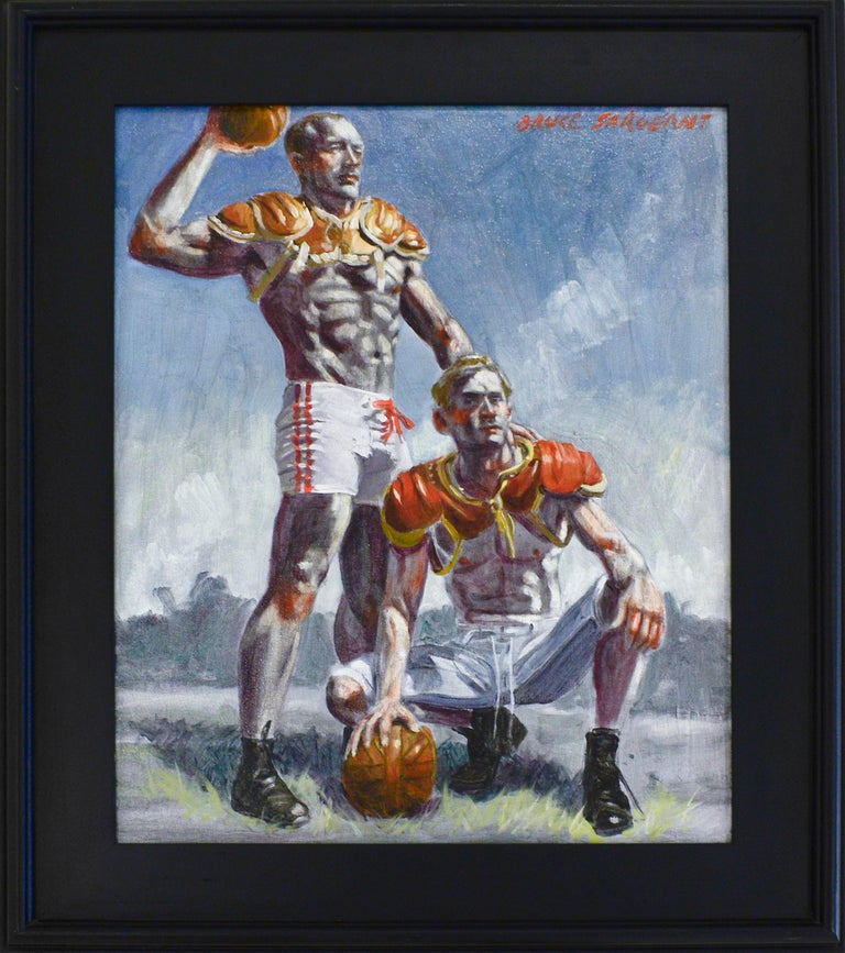 Football Players (Framed Academic Style Figurative Painting of Male Athletes)  For Sale 1