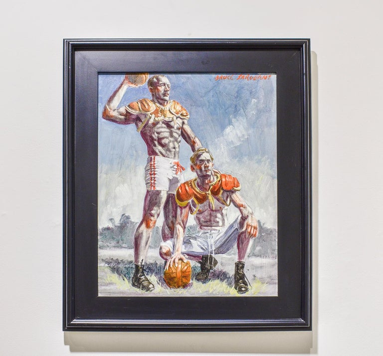 Football Players (Framed Academic Style Figurative Painting of Male Athletes)  For Sale 2