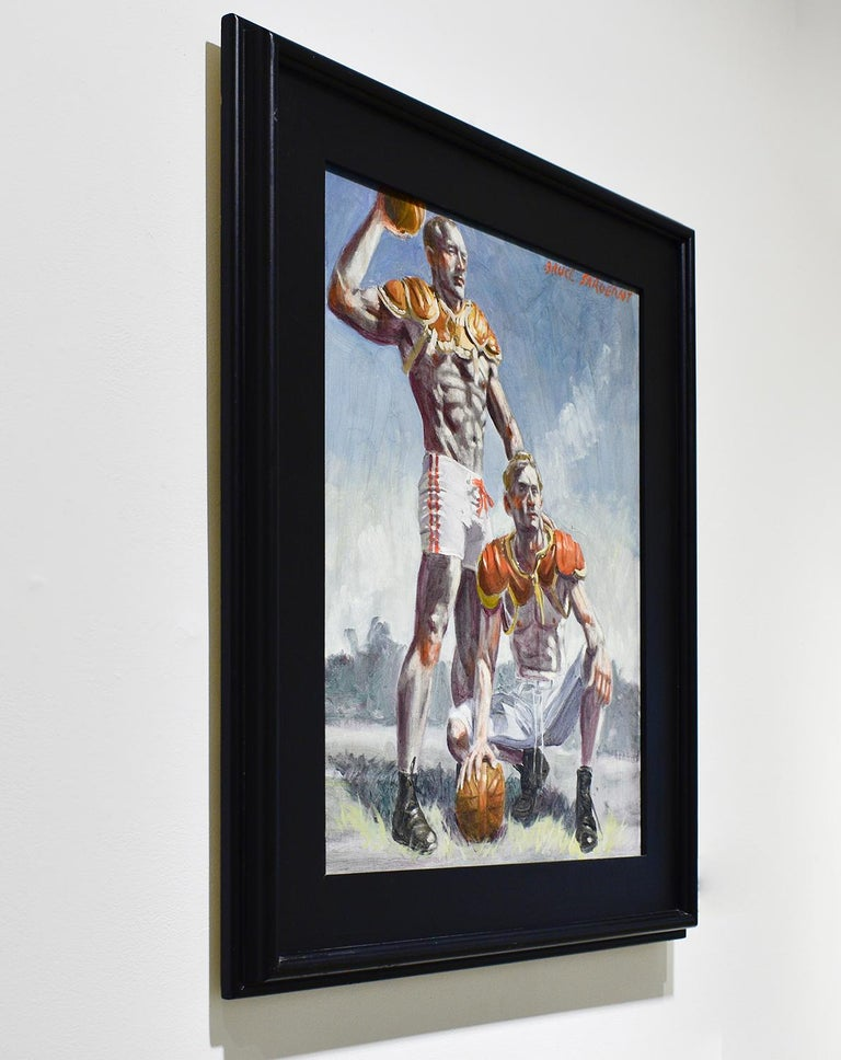 Football Players (Framed Academic Style Figurative Painting of Male Athletes)  For Sale 3