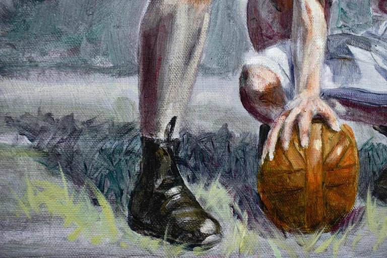 Football Players (Framed Academic Style Figurative Painting of Male Athletes)  For Sale 4