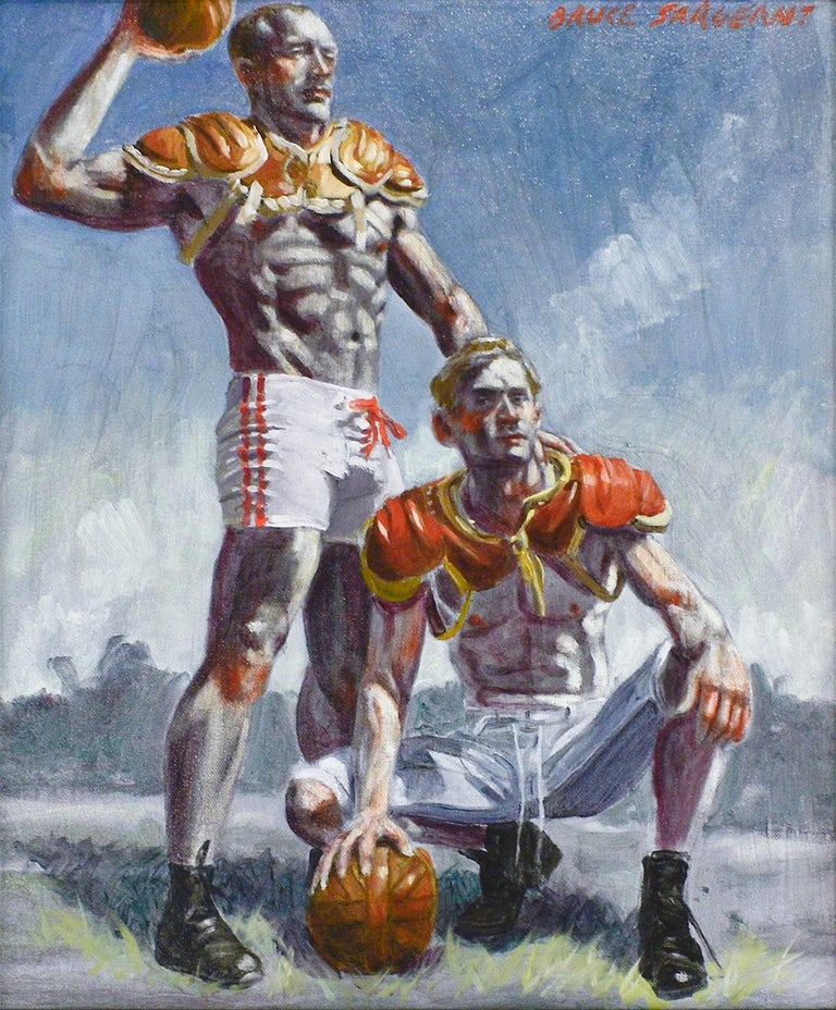 Academic style figurative oil painting of two muscular football players  Painted by Mark Beard as Bruce Sargeant Oil on canvas, signed upper right 20 x 16 inches unframed, 26 x 22 inches in black frame with wire backing  This vertical, figurative