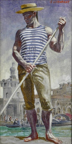 Gondolier in Venice (Academic Style Figurative Painting by Mark Beard)