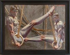 Gymnasts with Rings (Figurative Painting of Two Male Athletes by Mark Beard)