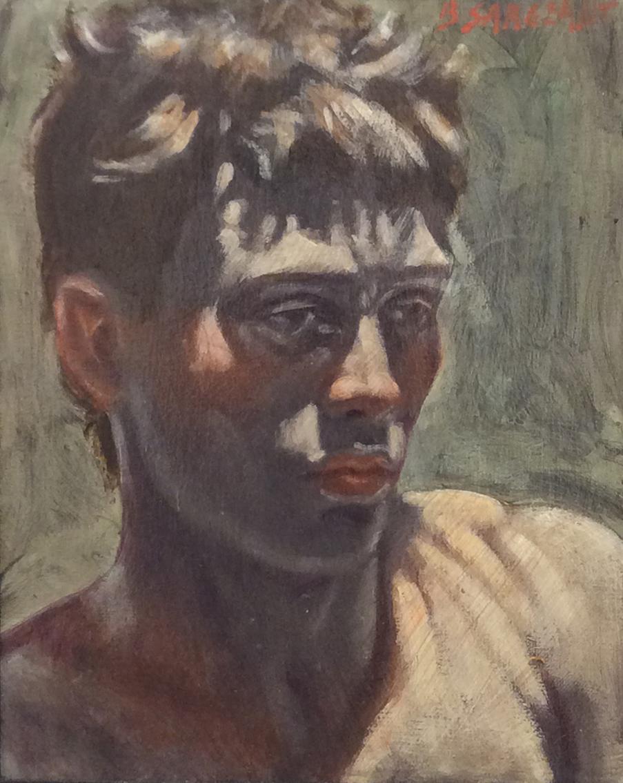 Head of a Man (Figurative Oil Painting Portrait by Mark Beard, Black Wood Frame)