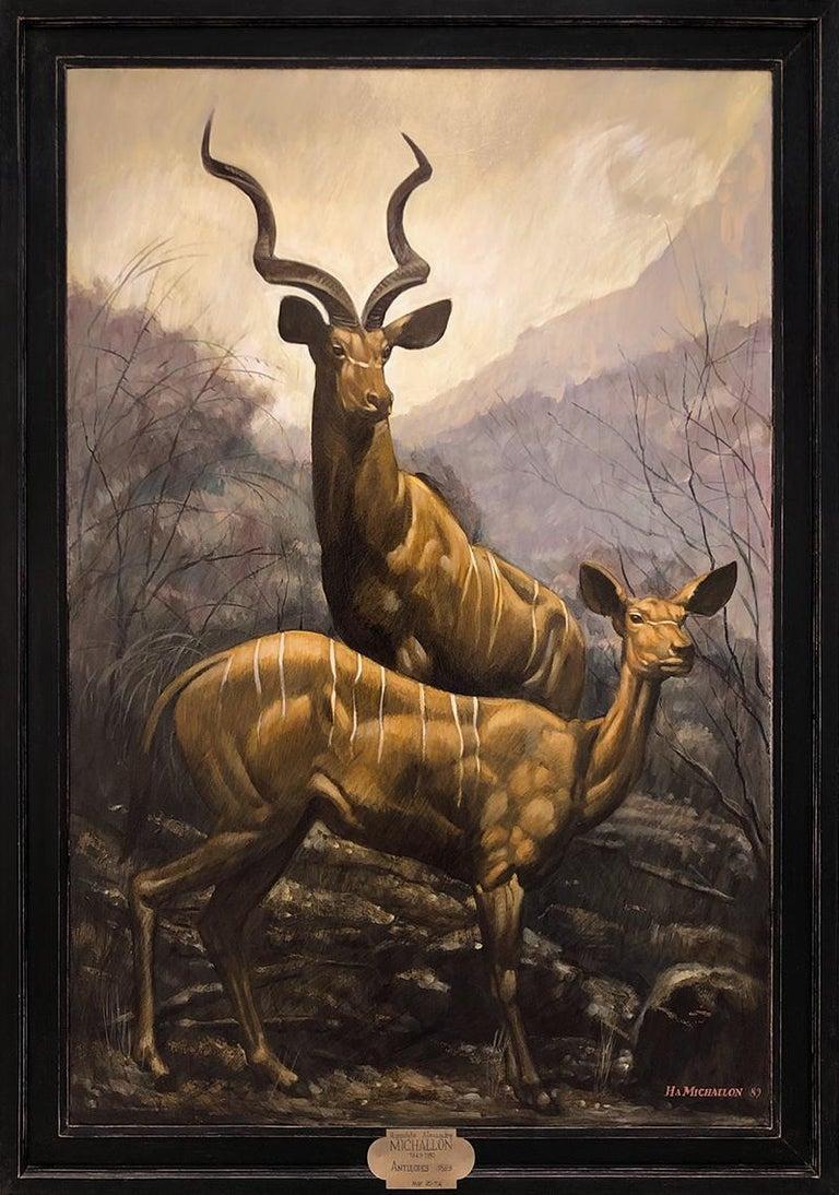 Mark Beard Figurative Painting - [Hippolyte-Alexandre Michallon (1849-1930)] Les Antelopes