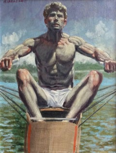 Justin Rowing (Figurative Nautical Style Oil Painting of Athletic Male Figure)