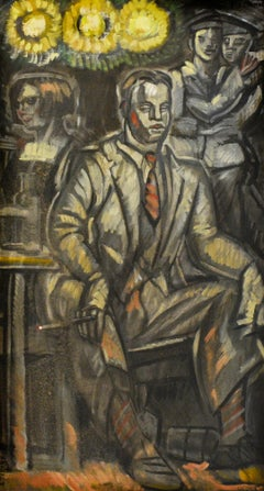 Man in Suit (WPA Style Figurative Painting by Mark Beard as Edith Cromwell)