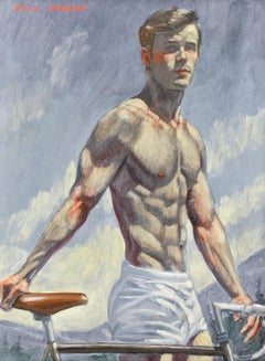 Man with Bicycle (Framed Figurative Oil Painting of Young Athlete by Mark Beard)