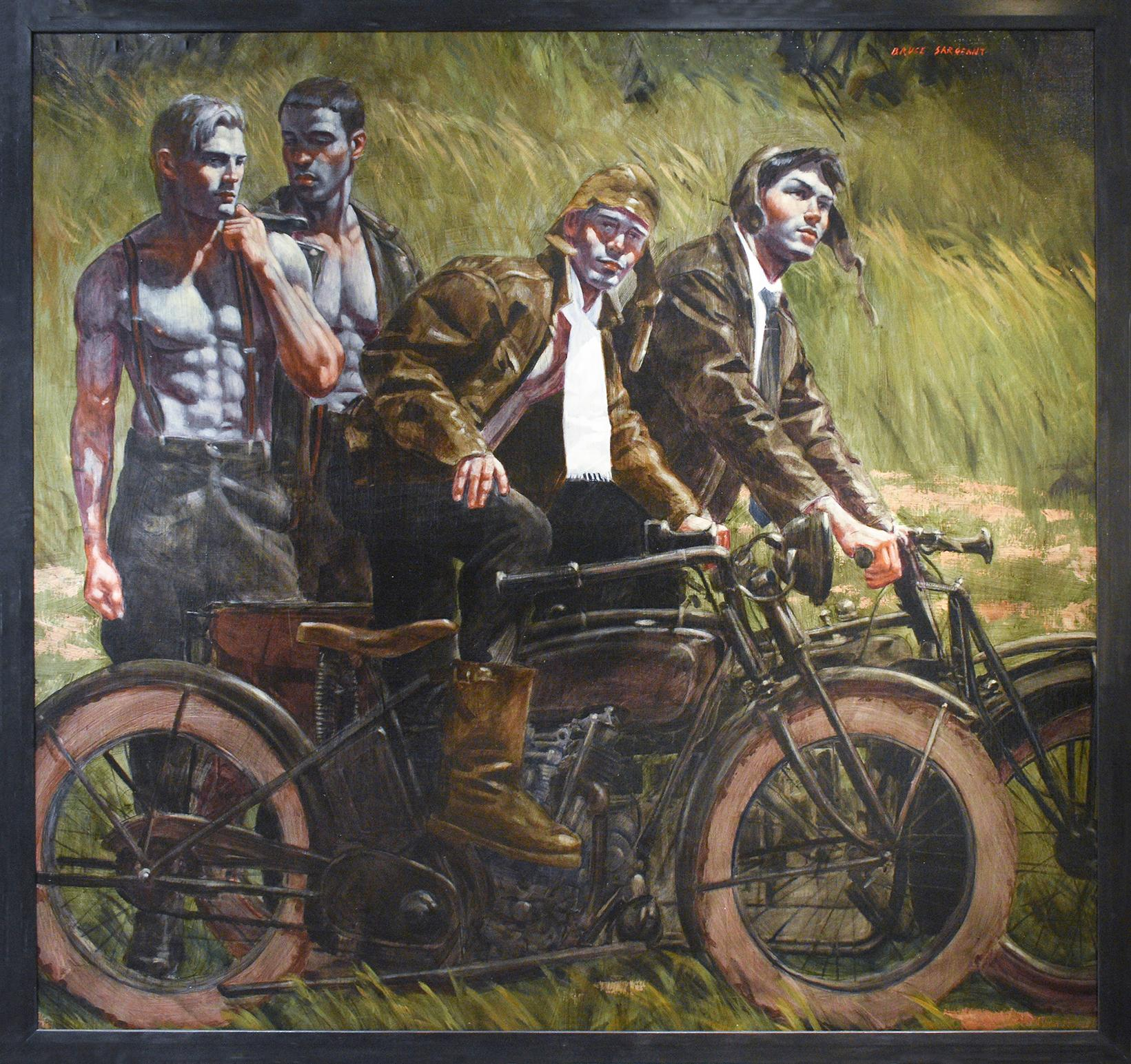 Men & Motorcycles, Mark Beard: Academic Figurative Painting of Four Male Models
