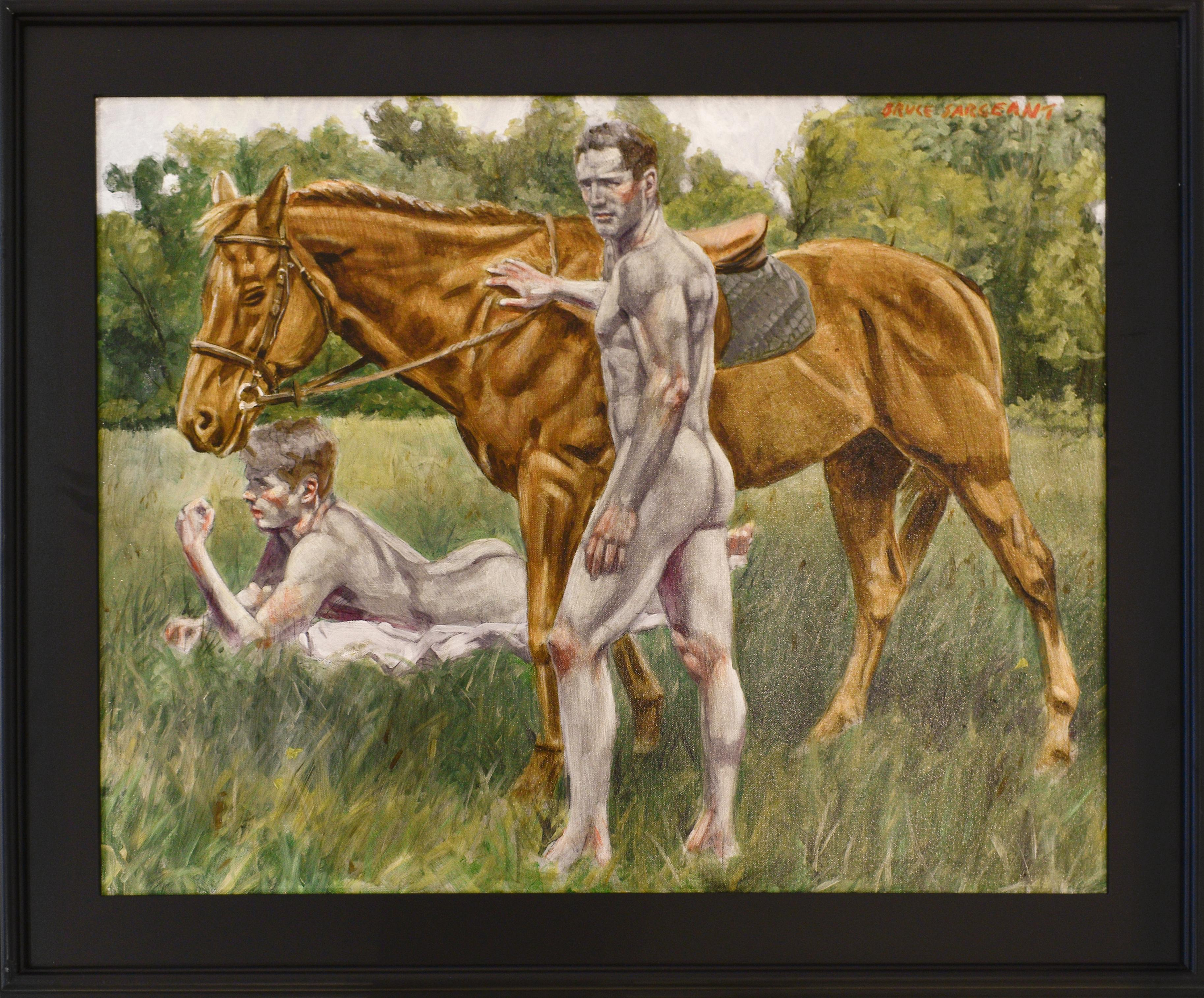 Morning Ride (Academic Figurative Oil Painting of Two Nude Men and Horse)