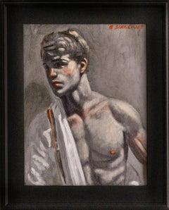 Nick in Red Suspenders II: Academic Figurative Portrait Painting by Mark Beard