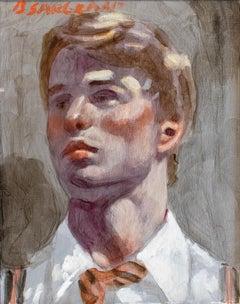 Portrait of Nick: Academic Figurative Portrait Painting of Young Man, Mark Beard