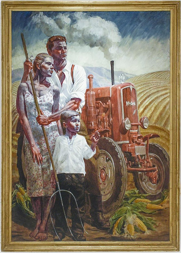 """Academic style figurative painting on canvas of a family and red tractor against a classic American farm field """"Prosperous Family"""", painted by Mark Beard under his fictitious persona, Bruce Sargeant  84 x 58 inches unframed, 91 x 65 x 3 inches with"""