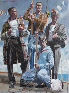 Set Sail (Academic Figurative Painting of Male Models by Mark Beard)