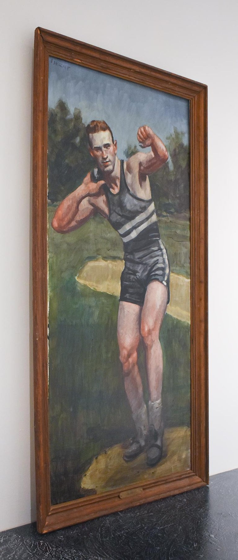 Shot put: Framed Figurative Oil Painting on Canvas of Male Athlete by Mark Beard For Sale 1