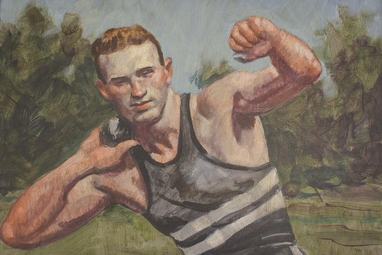 Shot put: Framed Figurative Oil Painting on Canvas of Male Athlete by Mark Beard For Sale 2