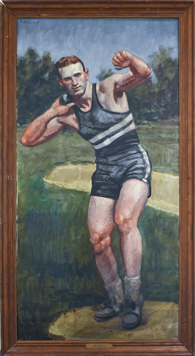 Vertical figurative oil painting of male shot put athlete 48 x 24 inches, 52 x 27 x 2 inches in distressed wood frame Signed, verso & front (Mark Beard, aka. Bruce Sargeant)  This vertical, contemporary figurative painting of a young male athlete