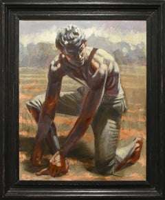 Sowing the Field: Framed Figurative Oil Painting of a Young Man by Mark Beard