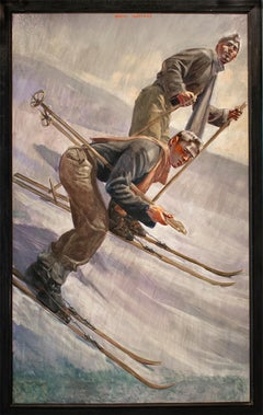 Two Skiers (Figurative Painting of Men in Snow Landscape by Mark Beard)