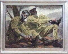 Two Soldiers: Framed Figurative Oil Painting of Two Young Soldiers by Mark Beard