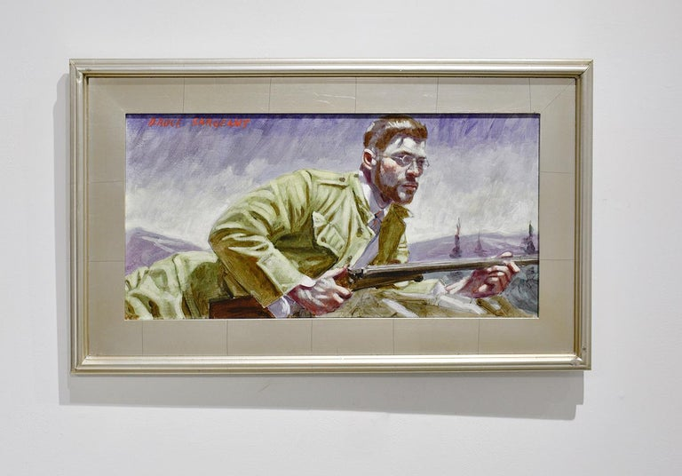 Waiting to Take Aim (Academic Figurative Painting of Hunter by Mark Beard)  For Sale 2