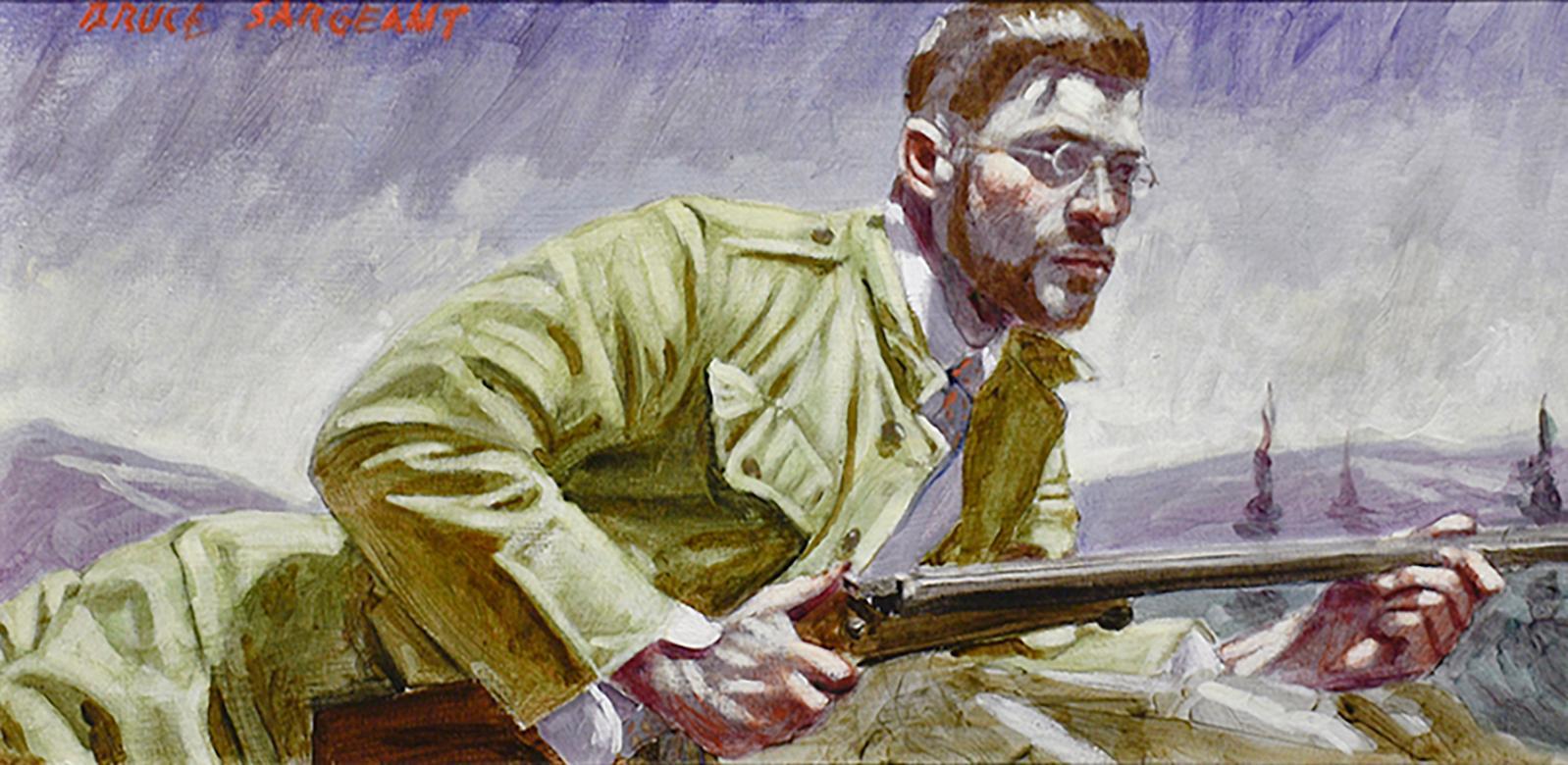 Waiting to Take Aim (Academic Figurative Painting of Hunter by Mark Beard)