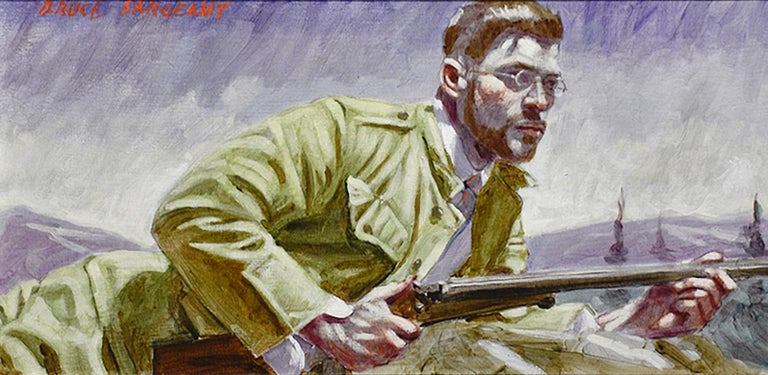 Academic style figurative oil painting of a handsome hunter in a mountainous landscape Painted by Mark Beard as Bruce Sargeant Oil on canvas, signed upper left 12 x 24 inches unframed, 18 x 30 inches in silver frame with wire backing  This