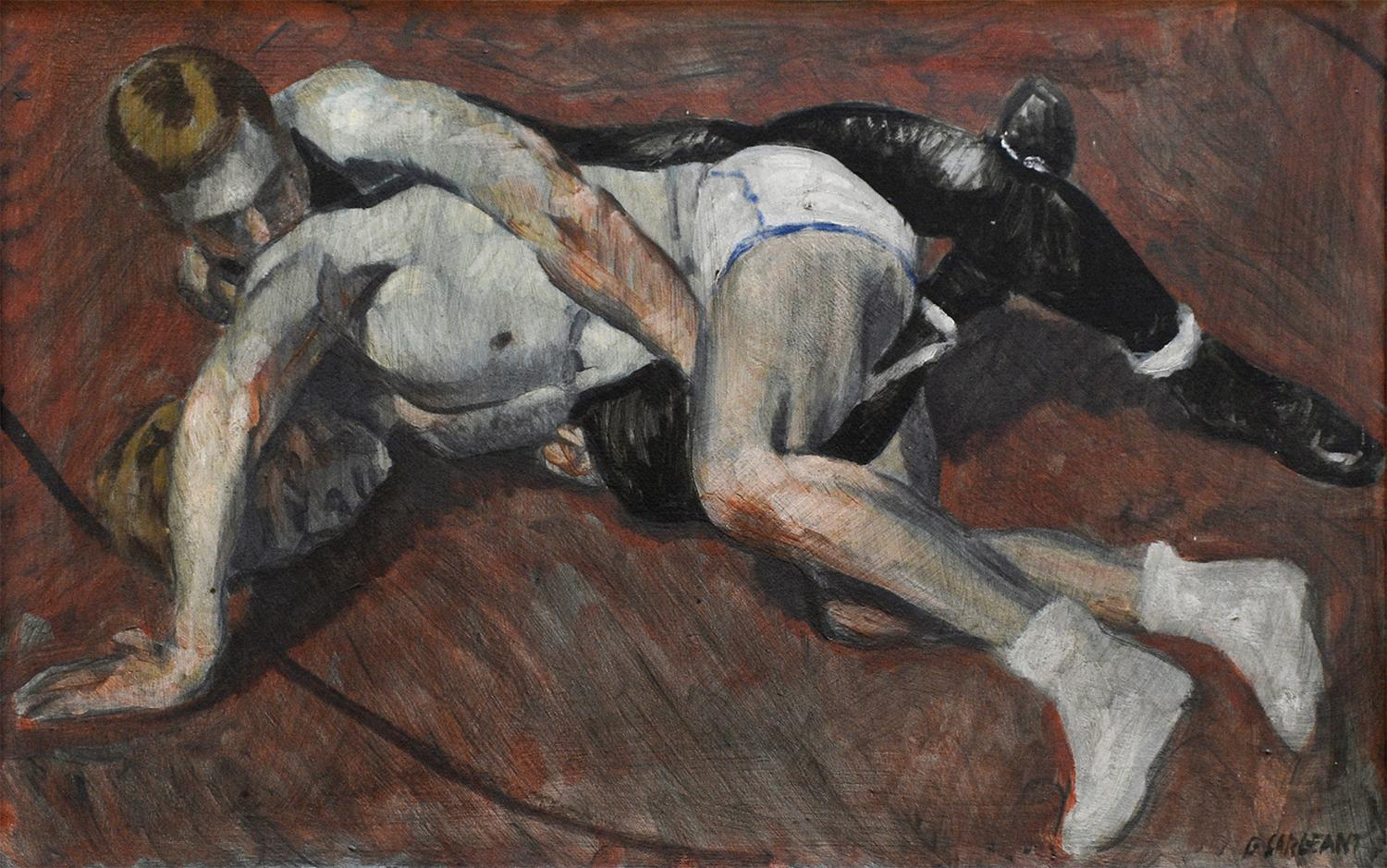 Young Wrestlers (Academic Figurative Painting of Male Athletes by Mark Beard)