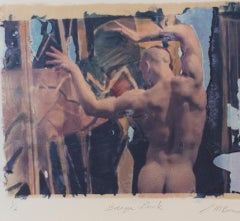 Baroque Back (Polaroid Transfer of Standing Young Nude Man on Rives BFK)