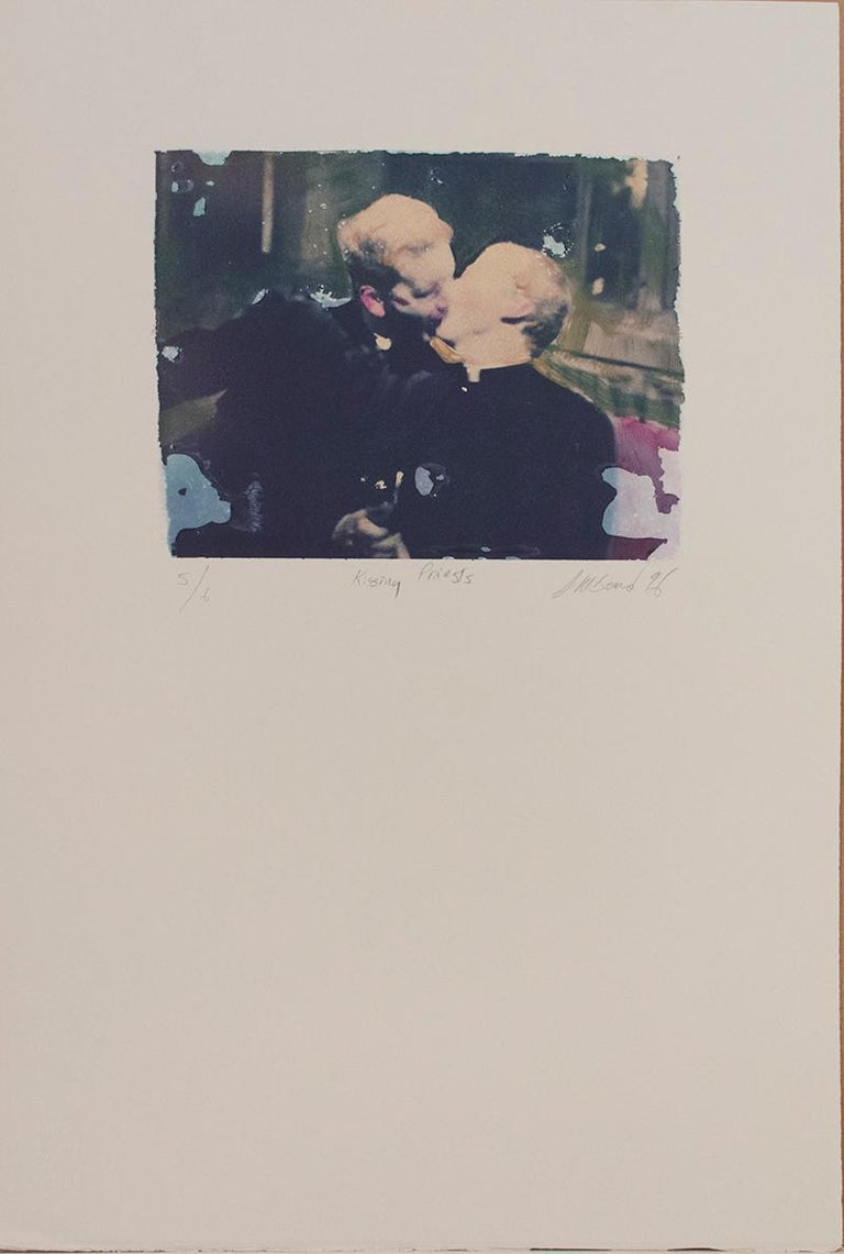 Kissing Priests (Polaroid Transfer of Embracing Clergymen on Rives BFK) - Photograph by Mark Beard