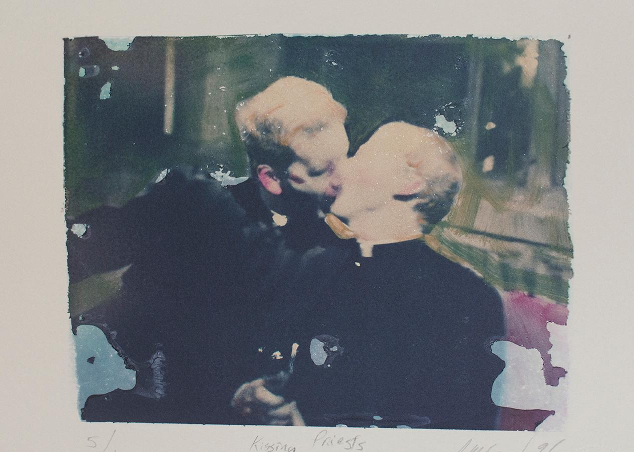Kissing Priests (Polaroid Transfer of Embracing Clergymen on Rives BFK)