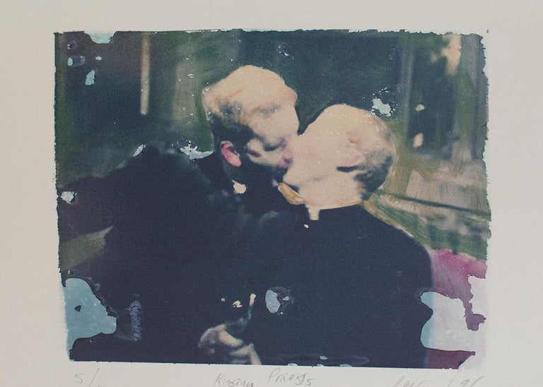 Mark Beard Color Photograph - Kissing Priests (Polaroid Transfer of Embracing Clergymen on Rives BFK)