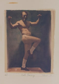 Mark Dancing (Polaroid Transfer of a Nude Man Smoking in Socks on Rives BFK)