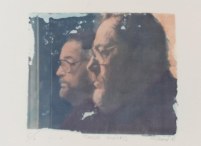 Mark Beard Color Photograph - Tennessee Williams (Polaroid Transfer of American Playwright his Reflection)