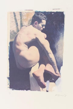 Untitled 13 (Mark Beard Polaroid Transfer of Young Male Nude on Rives BFK)