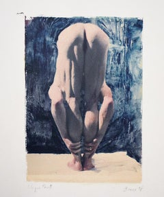 Untitled 26 (Polaroid Transfer of Young Nude Male on Rives BFK) by Mark Beard