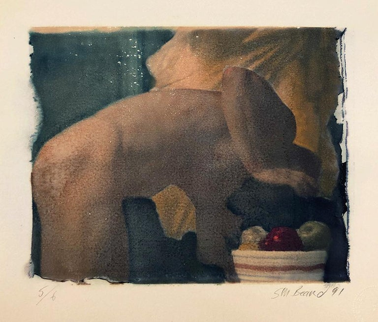 Mark Beard Figurative Photograph - Untitled (Stooped Man with Bowl of Fruit)