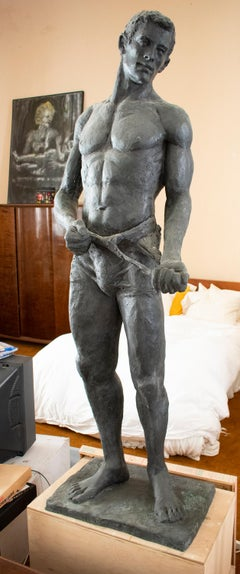 Male Athlete (Figurative Bronze Standing Sculpture of Wrestler with Singlet)