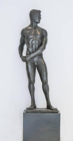 Statue of Athlete, Study: Academic Bronze Figurative Sculpture of Nude Male