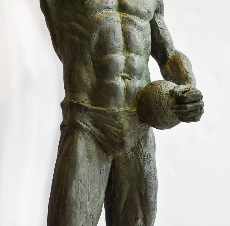 Mark Beard - Study Of Athlete With Ball Bronze Sculpture Of Nude Male By Mark Beard -9014