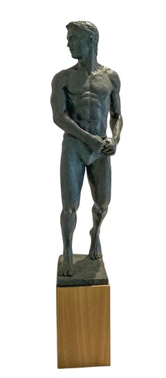 Study of Brian: Figurative Plaster Sculpture of Male Athlete by Mark Beard